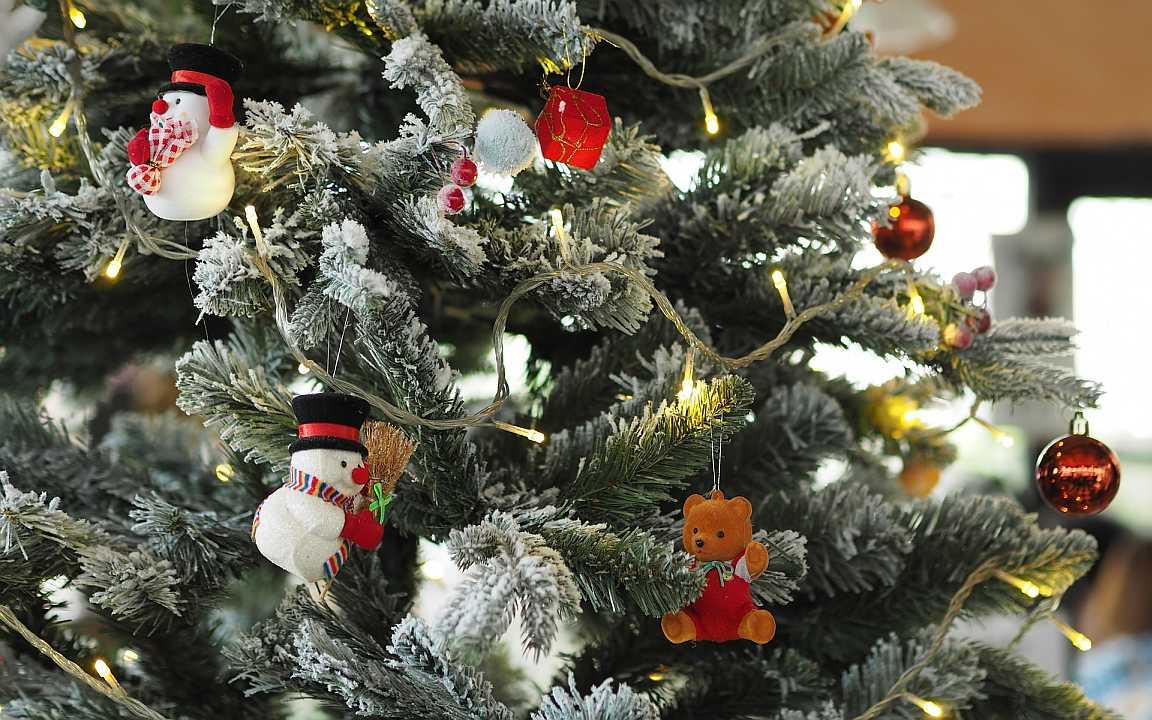 Vánoční stromek zdobený hračkami