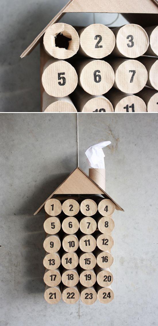 adventní kalendář z roliček toaletního papíru